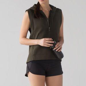 Lululemon Re-Form Vest Dark Olive Hooded Half Zip